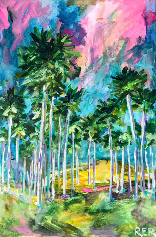 Paintings by Rachel Elizabeth Design seen at Private Residence, Chicago - Field of Palms