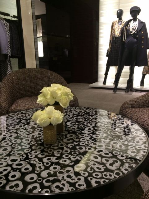 Interior Design by Vesna Bricelj seen at Bloomingdale's, New York - Chanel boutique verre eglomise table top