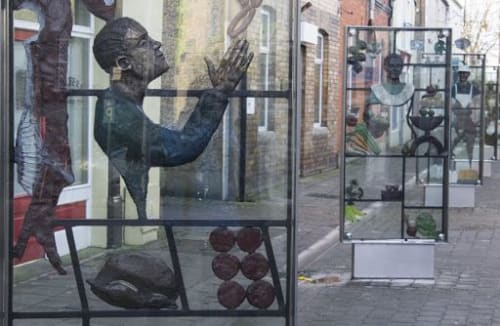 Public Sculptures by Ann Meldon Hugh seen at George's Street, Newbridge - Market Panels