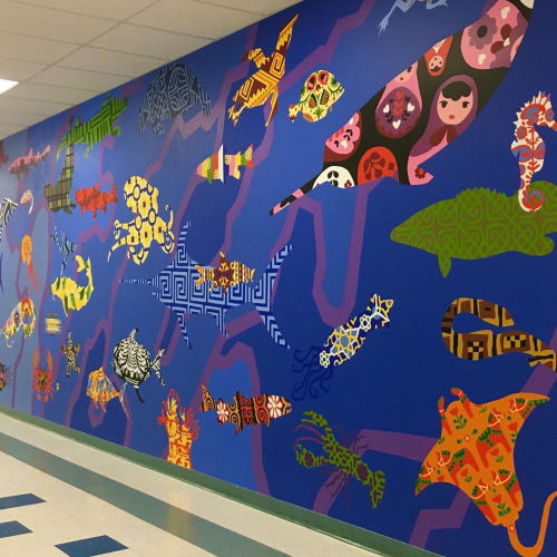 Murals by Eurhi Jones seen at ​Belmont Hills Elementary School, Bala Cynwyd - Water of Many Cultures