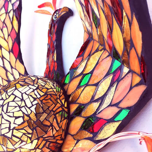 Sculptures by Kate Rattray Mosaic Artist seen at Private Residence, Chewton Mendip - The Phoenix