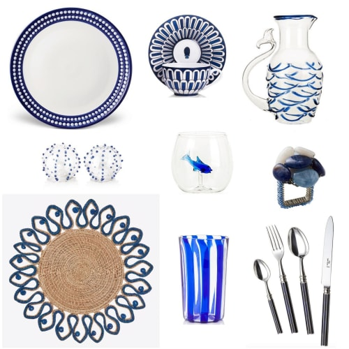 Tableware by Cosima Interiors seen at Private Residence - Blue Tablescape