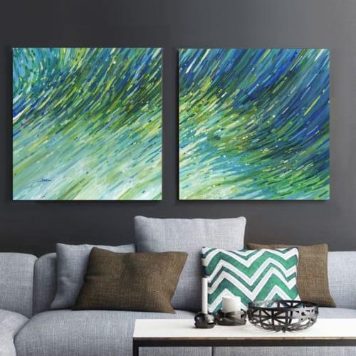 Paintings by Margaret Juul seen at Private Residence, Chicago - Light Glimmering Waves 1 & 2