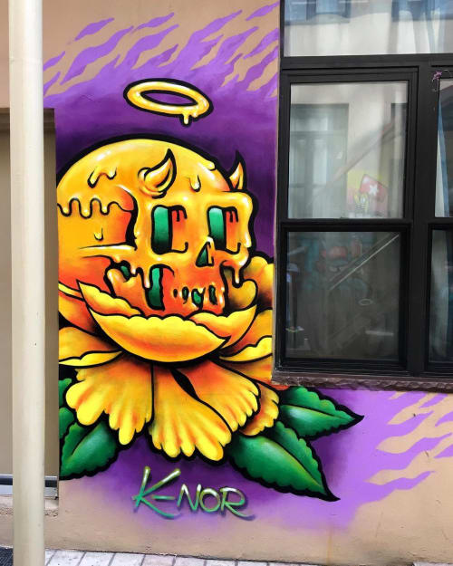"Murals by K-NOR seen at NY Moore Hostel, Brooklyn - ""Flower Skull"""