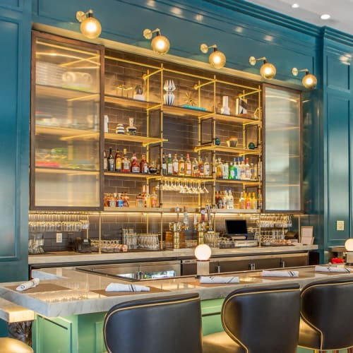 Interior Design by Amuneal seen at Cambria Hotel Downtown Dallas, Dallas - Back Bar