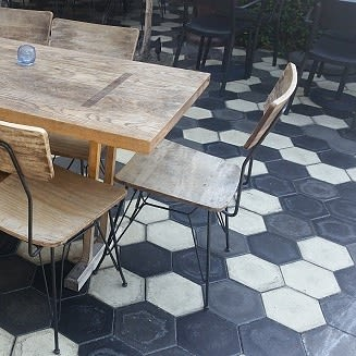 Tiles by Avente Tile seen at Zinqué, West Hollywood - Colonial Hexagon Cement Tile