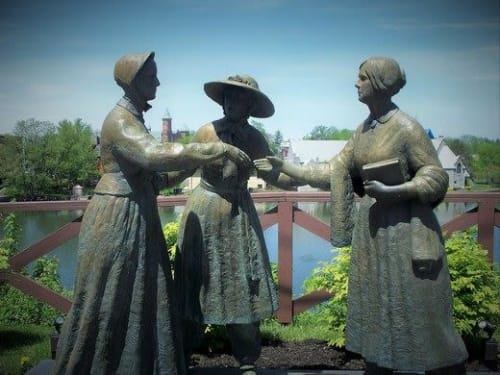 Public Sculptures by A. E. TED  AUB, Sculpture seen at East Bayard Street, Seneca Falls - When Anthony met Stanton