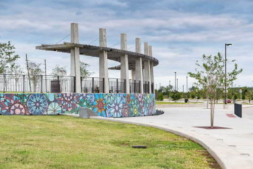 Public Mosaics by RE:site seen at Brazos River Park, Sugar Land - Interlacing Patterns