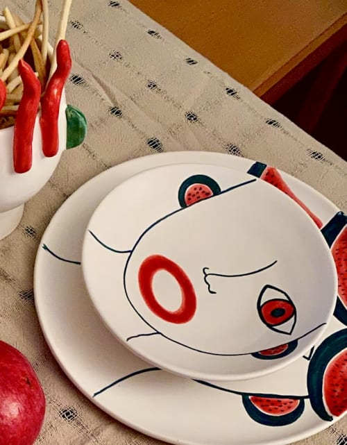 Ceramic Plates by Patrizia Italiano seen at Private Residence, Palermo - Plate with face of sellers