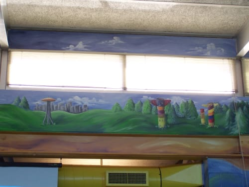 Murals by Bobbi Plentovich Lewis seen at A.M. Davis Elementary School, Richmond - Undersea Library