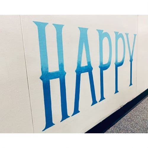 Murals by Two Brushes seen at Head O'Meadow Elementary School, Newtown - Today is the Perfect Day to be Happy