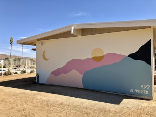 Murals by Ana DiGiallonardo seen at Private Residence, Yucca Valley - Desert Eclipse Mural at Cactus Moon Retreat