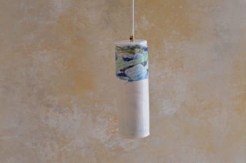 Porcelain drop pendant #1 - blue/green | Pendants by Sarah Tracton | Melbourne in Melbourne