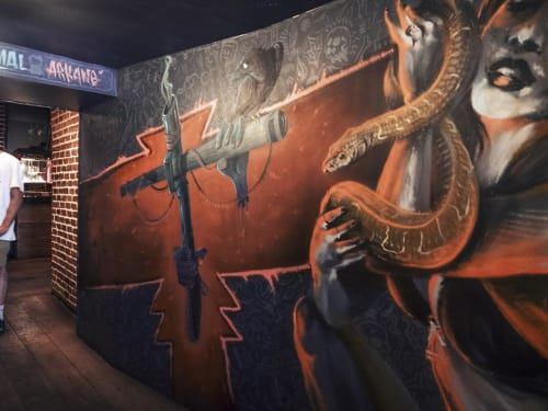 "Murals by Primal Graphic seen at Titi Twister, Bordeaux - ""Une nuit en Enfer"" mural"