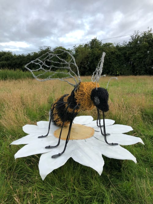 Public Sculptures by Newgrange Willow Design seen at Knockmay - Bee & Wild Dog Daisy