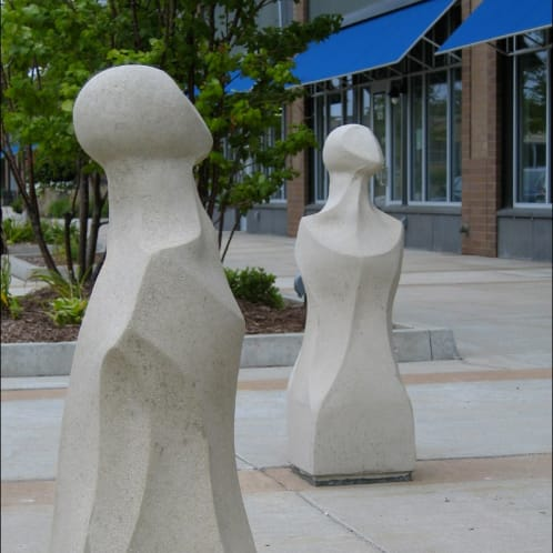 Public Sculptures by Marjorie Pitz seen at West 36th Street, St. Louis Park - Body Benches, Body Bollards