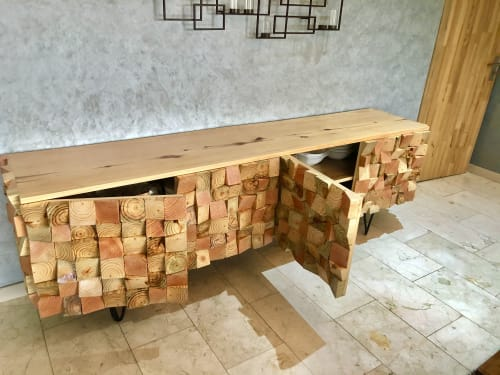 Furniture by STRIPESCRAFT seen at Private Residence, Accra - WOOD MOSAIC CHINA CONSOLE