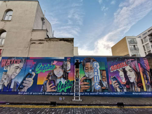 Murals by JAY KAES seen at East London - HONOR 20 series