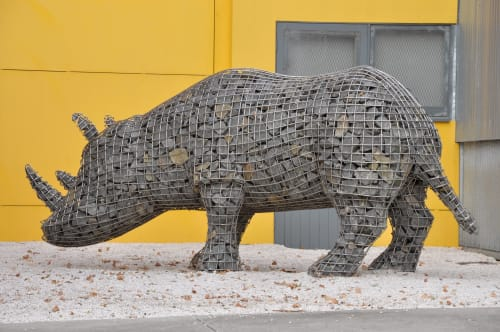 Public Sculptures by Roger Gaudreau seen at University of Tasmania, Inveresk Campus, Launceston - The Migration of the Rhinoceros  «Mavis»