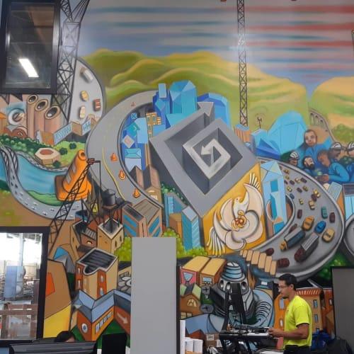 Murals by Paul Santoleri seen at EDA Contractors Inc, Bensalem - EDA Contractors Mural