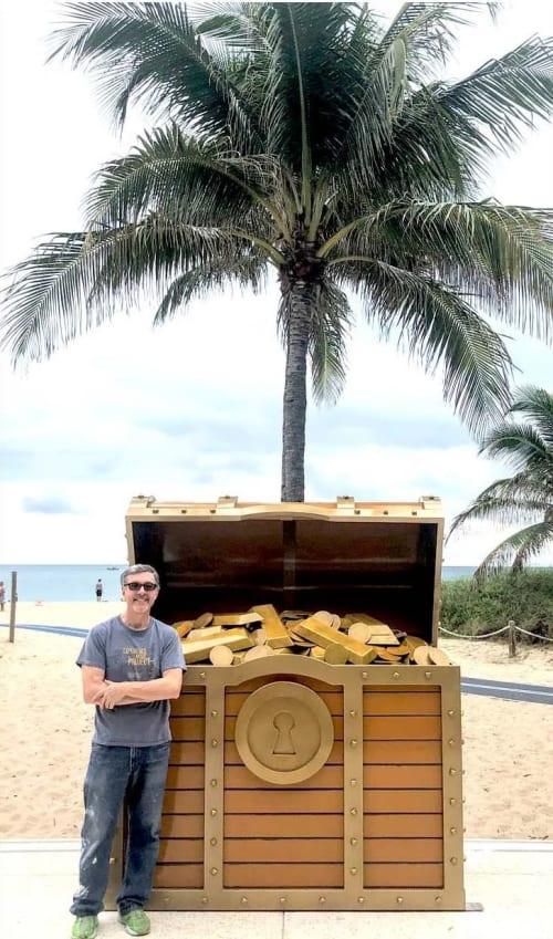 Public Sculptures by Donald Gialanella seen at Pompano Beach, Pompano Beach - Treasure Chest
