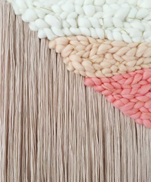 Macrame Wall Hanging by Erin Barrett  (Sunwoven) seen at Private Residence, Charleston - Asymmetrical Weaving in Blush