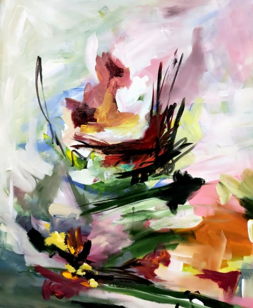 Paintings by Marie Manon Art seen at Private Residence, Calgary - Double Water Lilies