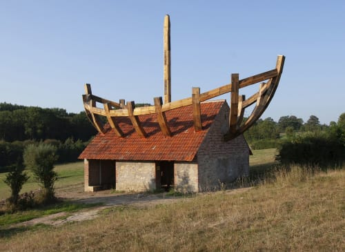 Public Sculptures by Ilan Averbuch seen at Nieheim, Nieheim - The House in the Boat The Boat in the House, 2019
