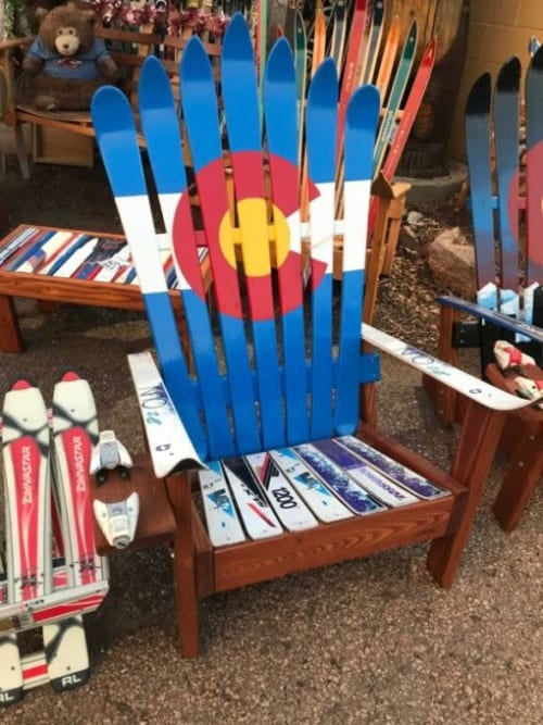 Chairs by Colorado Ski Chairs seen at Private Residence, Boulder - Colorado Flag Adirondack Ski Chair