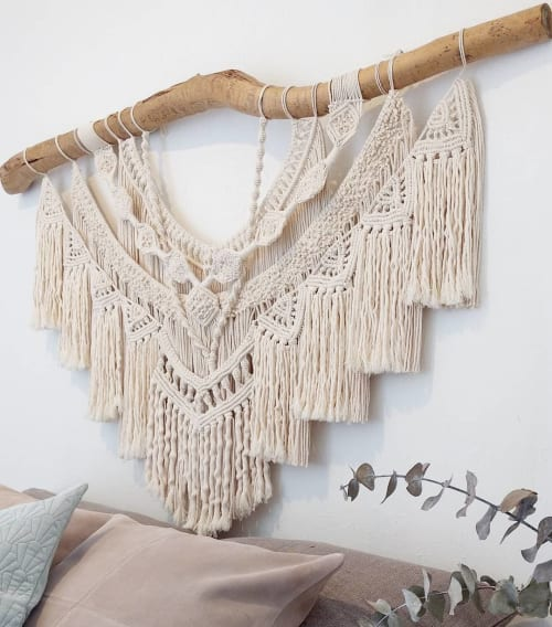 Macrame Wall Hanging by LIDXI Decoracion (by Nadxieelli Suastegui G.) seen at Private Residence, Guadalajara - SHONE (Three in Zapotec dialect)