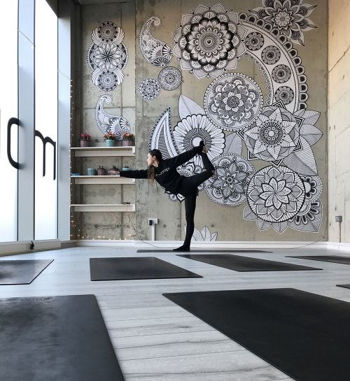 Wallpaper by Phlox Graphix seen at Private Residence, London - Hand Drawn Wallpaper Artwork in Greenwich, Yoga studio