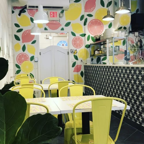 Murals by Leslie Phelan Mural Art + Design seen at Sophie's, Toronto - When Life Hands You Lemons