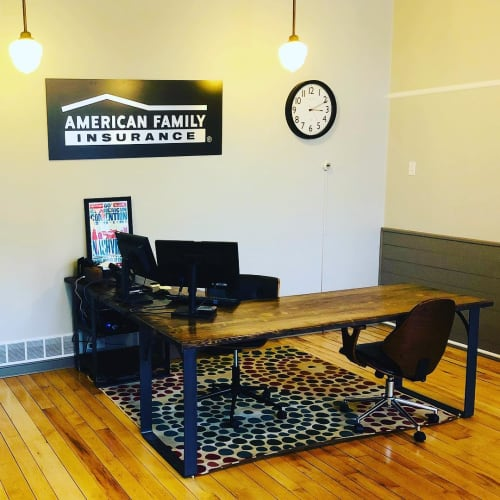 Tables by Wisconsin Farmhouse seen at American Family Insurance - Carrie Miller Agency LLC, Mineral Point - Southern Yellow Pine Desk