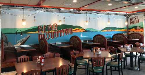 Murals by Toni Miraldi / Mural Envy seen at Westchester Diner, Peekskill - Bear Mountain Landscape Mural