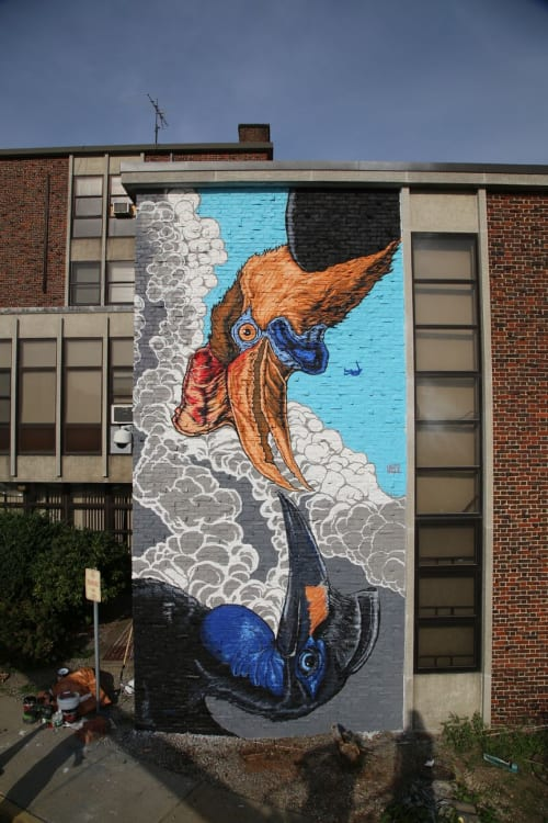 Street Murals by JALLEN Art and Design seen at YWCA, Worcester - Pow Wow Hornbills