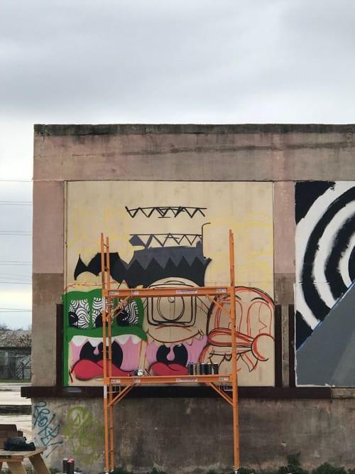 Street Murals by Jorge-Miguel Rodriguez seen at Essex Modern City, San Antonio - Texas Monsters