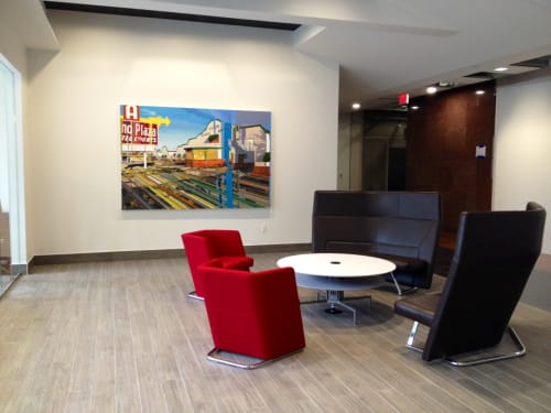 Paintings by Kim Cadmus Owens seen at 2100 Ross Avenue Tower, Dallas - Alamo