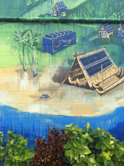 "Murals by Kai'ili Kaulukukui seen at King William C. Lunalilo Elementary School, Honolulu - ""Ahupua'a Lunalilo"""