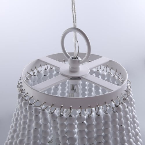 Chandeliers by Homary.com seen at Private Residence, Los Angeles - Classic Wood Beaded Basket 8-Light Chandelier in White