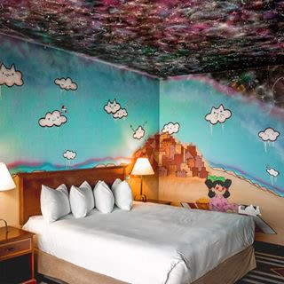 "Murals by Amanda Beardsley seen at Nativo Lodge, Albuquerque - ""Across The Universe"""