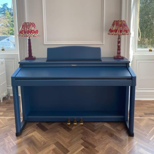 Interior Design by Julia Sagias seen at Private Residence - Living Room redesin & handpainted piano
