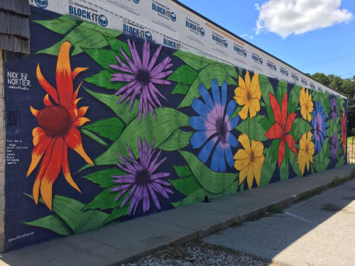 Street Murals by Nick Nortier seen at 8747 Ferry St, Montague - Native Flower Mural