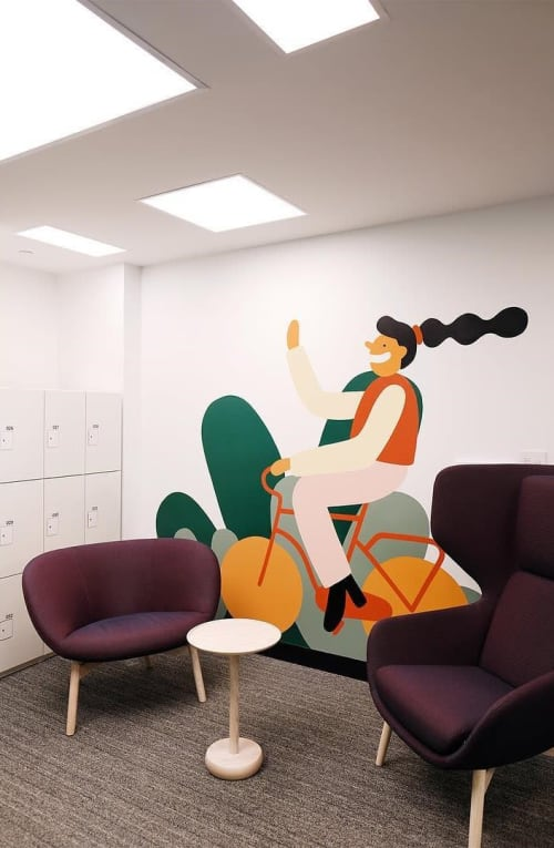 Murals by Cecile Gariepy seen at BNP Paribas, Montréal - BNP Paribas Mural