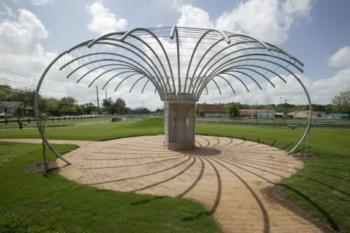 Public Sculptures by Philippe Klinefelter seen at Govalle  Austin, TX, Austin - Hourglass Seating Arbor