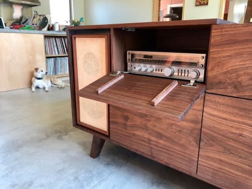 Tables by Sallie Plumley Studio seen at Private Residence, Richmond - Walnut Vintage Record Console