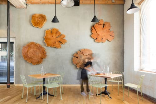 Sculptures by Kyle Minor Design seen at Waxman's, San Francisco - Waxman's Restaurant Wood Sculpture
