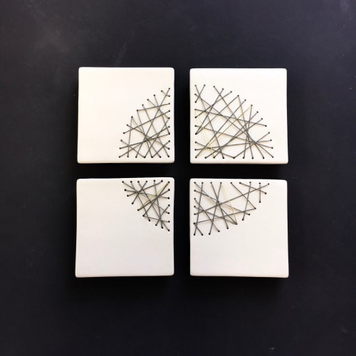 Art & Wall Decor by Elizabeth Prince Ceramics seen at Creator's Studio, Manchester - Set Of 4 Stitched Ceramic Squares