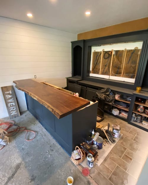 Furniture by All Things New seen at Private Residence, Kansas City - Live edge bar top