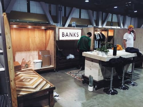 Furniture by Coyote Custom Woodwork seen at Long Beach Convention & Entertainment Center, Long Beach, CA, Long Beach - Banks Journal Custom Booth Buildout