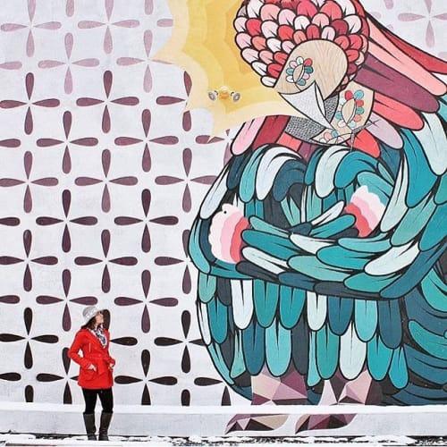 """Murals by Pedro Barrios Art seen at Meininger Art Supplies, Denver - """"Pushed"""" mural"""
